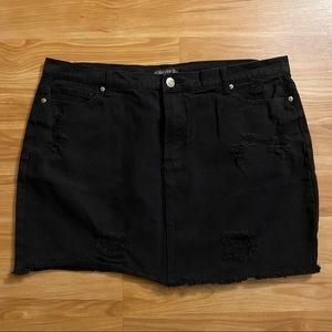 F21 Black Distressed Denim Mini Skirt size 18